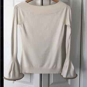 INTERMIX off the shoulder bell sleeve sweater